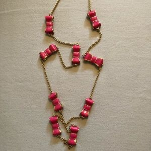 Kate Spade Take a Bow Pink Necklace NWT